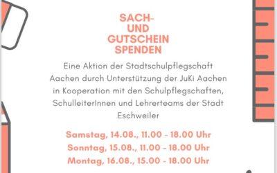 Spendenaktion der Stadtschulpflegschaft Aachen für betroffene Schüler der Stadt Eschweiler